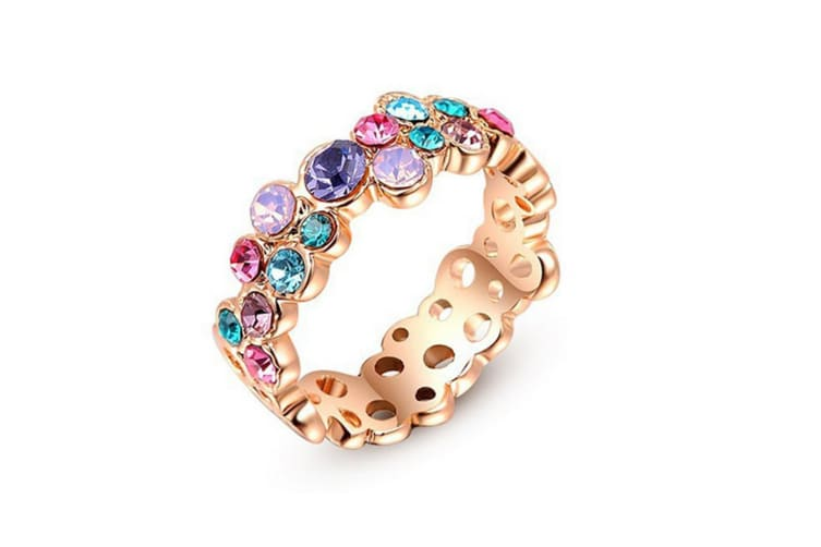 Hot Charm Gold Plated Colorful Crystal Diamond Fashion Ring 6
