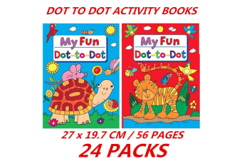 24 x 56 Pages Dot-To-Dot Children's Activity Coloring Books Kids Early Learning