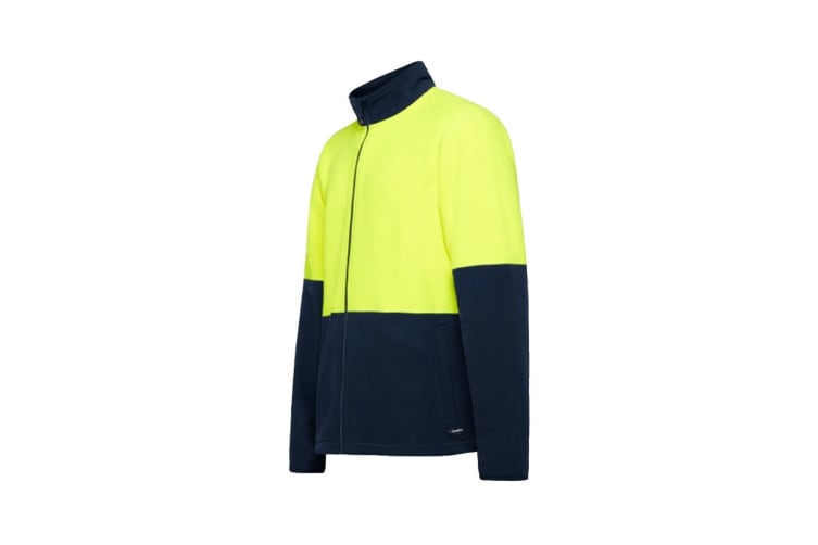 King Gee Full Zip Spliced Hi Vis Fleece (Yellow/Navy, Size 2XL)
