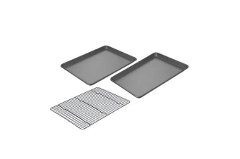 Chicago Metallic Non-Stick Jelly Roll Pans with Cooling Rack 46x33x3.8cm 2pc