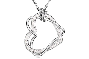 Two Hearts Entwined Necklace Clear Embellished with Swarovski crystals