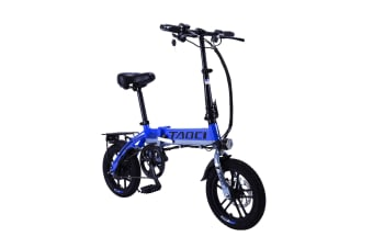 "TAOCI 250W 36V Folding Electric Bike 14"" eBike Road with Battery Alloy Frame Black/Blue"