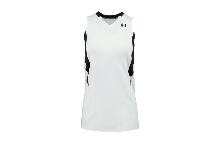 Under Armour Women's Power Performance Jersey Tank Top (White/Black, Size XL)