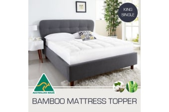 King Single Size Aus Made 1000GSM Bamboo Fibre Pillowtop Mattress Topper