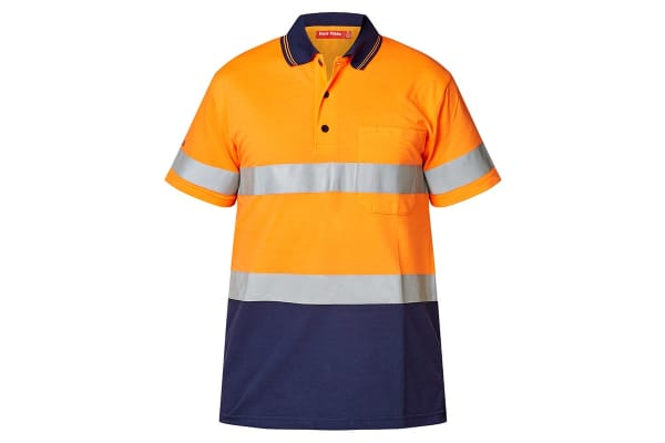 Hard Yakka Men's Hi-Vis Two Tone Taped Short Sleeve Polo (Orange/Navy, Size XL)