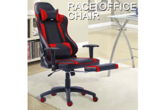 Gaming Racing Office Chair PU Leather with Footrest RED