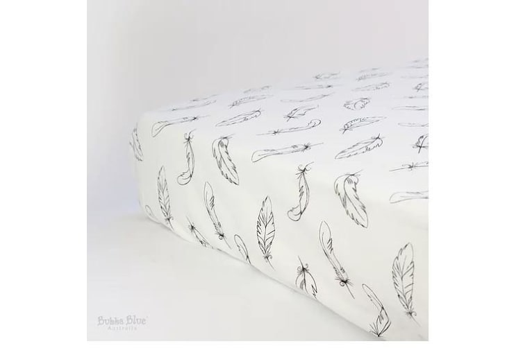 Bubba Blue Organic Cotton Feathers Cot Jersey Fitted Sheet