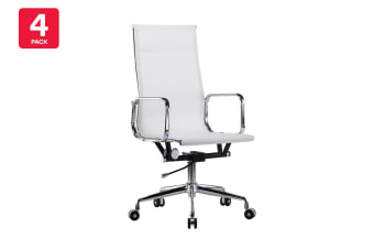 4 Pack Ergolux Executive Eames Replica High Back Mesh Office Chair (White)