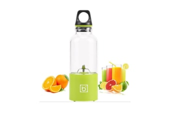 Select Mall Multi-function 500mL 4 Blades USB Electric Fruit Juicer Smoothie Maker Blender Juice Bottle Cup Machine-YELLOW