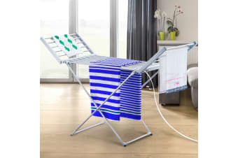 Electric Heated Towel Clothes Airer Rack Dryer Warmer Stand Rail Free Standing
