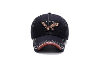 Eagle Embroidery Baseball Cap Embroidery Curved Bill Dad Hat Cotton Strapback Black