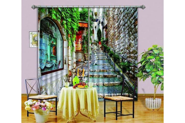 3D City Alley Stairway 343 Curtains Drapes, 320cmx270cm(WxH) 126''x 106''