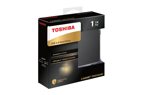 Toshiba Canvio Premium P2 USB 3.0 Portable External Hard Drive 1TB - Dark Grey (HDTW210AB3AA)