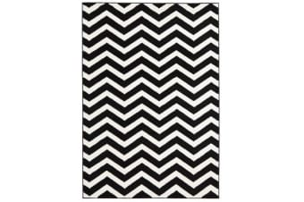 Modern Chevron Design Rug Black White