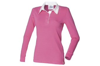 Front Row Womens/Ladies Long Sleeve Plain Sports Rugby Polo Shirt (Bright Pink/White)