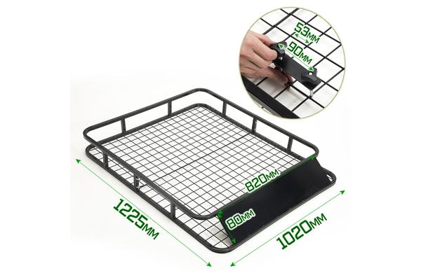 Steel Roof Luggage Carrier Basket 1230mm - BLACK