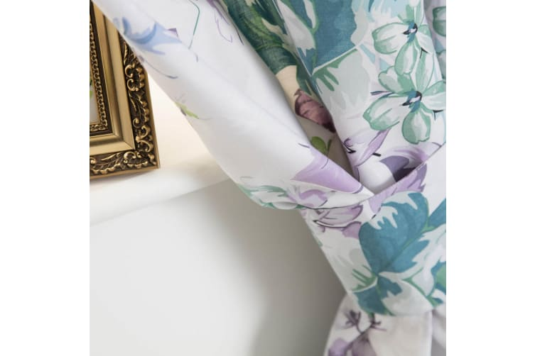 Belledorm Melody Lined Curtains (White/Purple/Green) (168 x 183cm)