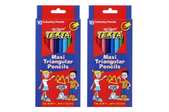 2x 10pc Texta Maxi Triangular Colouring Pencils Drawing Coloured Sketch f/ Kids