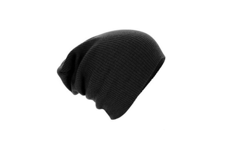 Classic Swag Style Warm And Soft Slouchy Knitted Beanie Cap Black
