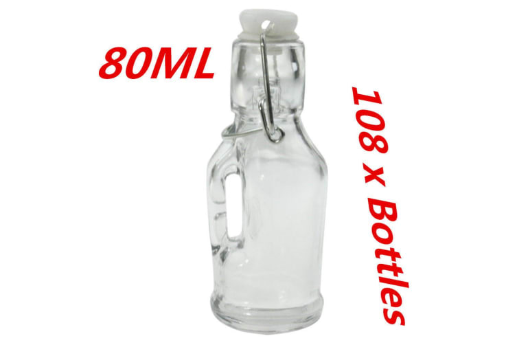 108 x Mini Small Glass Clip Jars 80ML with Handle Wedding Favors Lolly Jar Oil Bottle