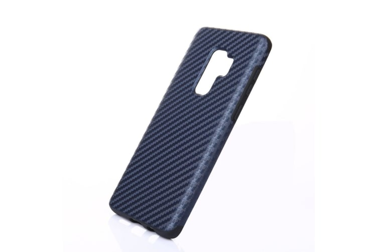 For Samsung Galaxy S9 PLUS Back Case Carbon Fiber Anti-slip Shielding Cover Blue