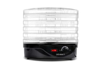 Devanti 5 Trays Food Dehydrators Beef Jerky Dehydrator Fruit Dryer Maker Black