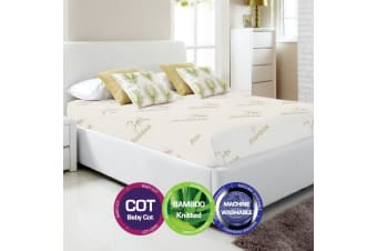 Bamboo Print Fully Fitted Mattress Protector -Baby Cot
