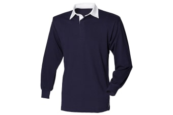 Front Row Long Sleeve Classic Rugby Polo Shirt (Navy/White)