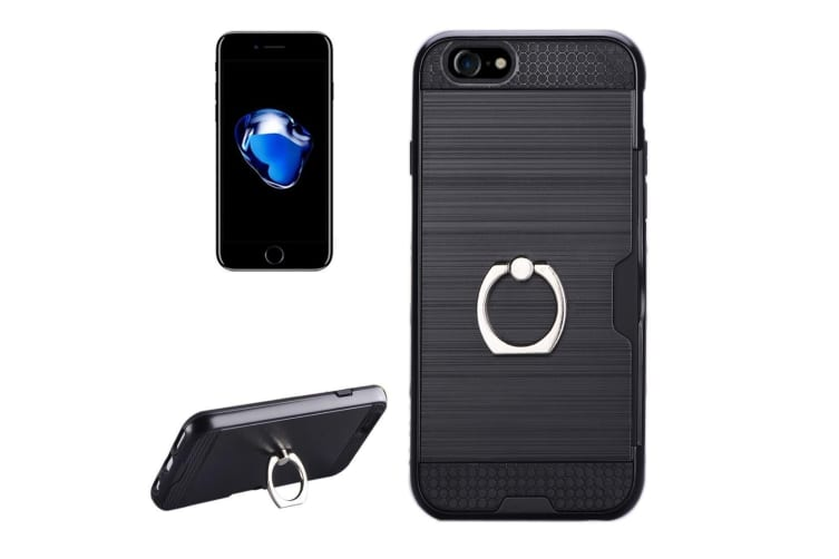best sneakers 193ec 9ca98 For iPhone 8 7 Back Case Stylish Metal Texture Durable Protective Cover  Black