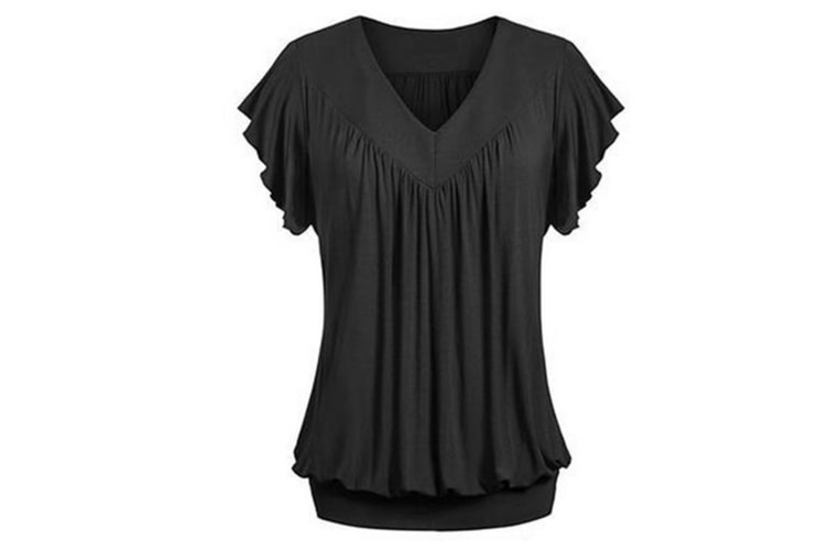 Women's V Neck Short Sleeves Front Pleated Tunic Shirts Blouses Top XL