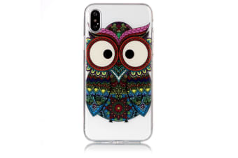 For iPhone XS X Case Tribal Owl Transparent Durable Protective Cover