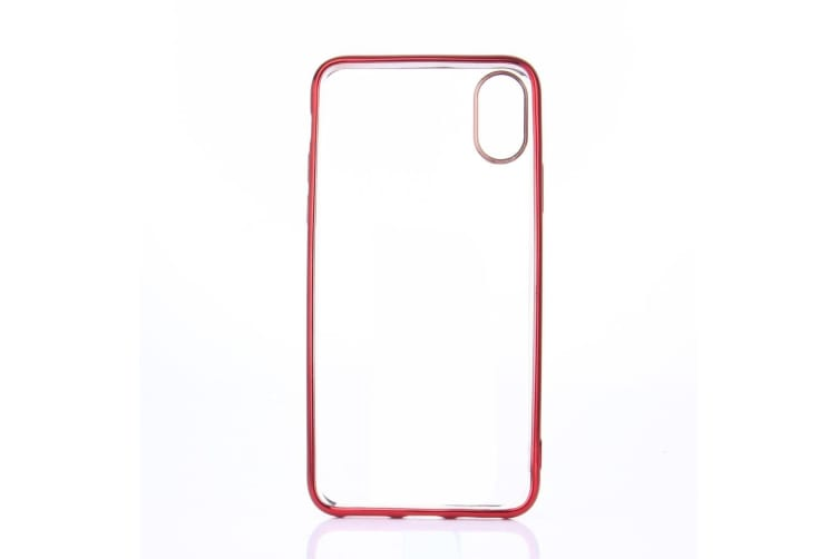 For iPhone XS X Case Transparent Electroplated Durable Shielding Cover Red