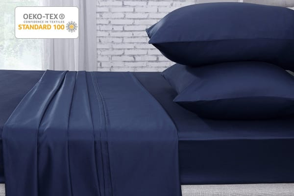 Ovela 1000TC 100% Egyptian Cotton Bed Sheet Set (Single, Indigo)
