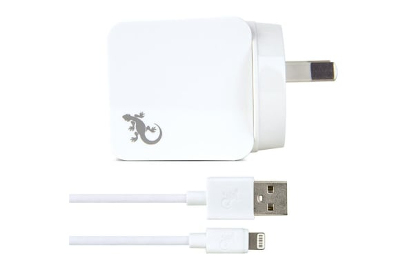 Gecko 2.4A USB Wall Charger w/ 1.5m Lightning Cable - White