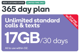 Kogan Mobile Prepaid Voucher Code: LARGE (365 Days | 17GB Per 30 Days) - Buy One Get One Free