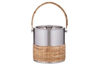 Amalfi Esprit 16.5cm Double Wall Brushed Stainless Steel Ice Bucket w  Lid SLV