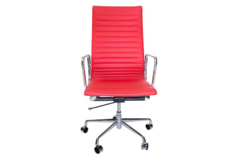 Replica Eames High Back Ribbed Leather Executive Desk / Office Chair | Red