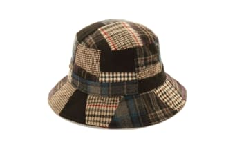 Adults Unisex Patchwork Wool Blend Bucket Hat (Black)