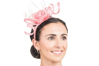 Hawkins Collection Womens/Ladies Rose And Ribbon Fascinator (Floral Pink) (One Size)
