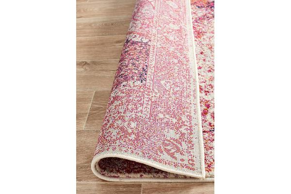 Hazel Pink Durable Vintage Look Runner Rug 400x80cm