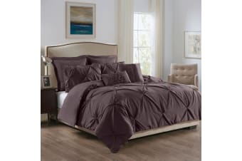 Royal Comfort 7 Pc Soft Microfiber Fitted Pleat Comforter Case Blanket Bed Set - Queen - Truffle