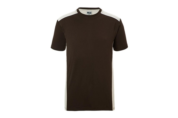 James and Nicholson Mens Workwear 2 Level T-Shirt (Brown/Stone) (5XL)