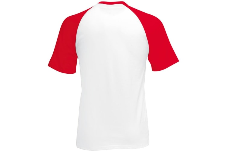 Fruit Of The Loom Mens Short Sleeve Baseball T-Shirt (White/Red) (M)