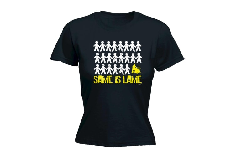 123T Funny Tee - Same Is Lame Drummer - (Small Black Womens T Shirt)
