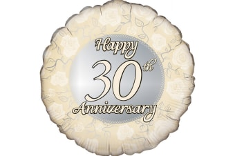 Oaktree 18 Inch Circle Happy 30th Anniversary Foil Balloon (Gold/Silver)