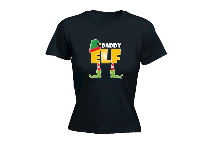 123T Funny Tee - Elf Daddy - (Small Black Womens T Shirt)