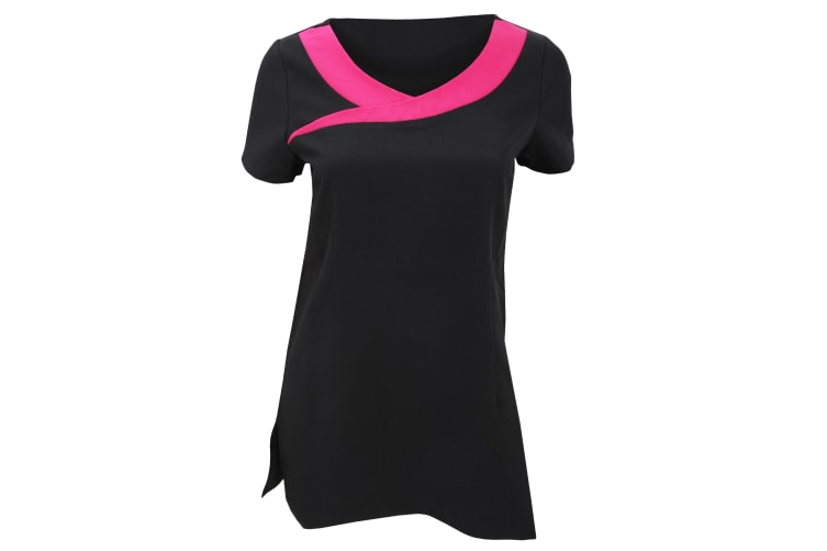 Premier Womens/Ladies Ivy Beauty And Spa Tunic (Contrast Neckline) (Black/ Hot Pink) (6)