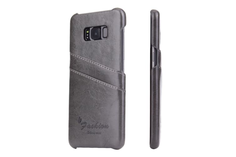 For Samsung S8 Plus Grey Deluxe Leather Flip Wallet Phone Case Shockproof Case