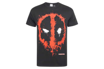 Marvel Official Deadpool Mens Splat Logo T-Shirt (Black)