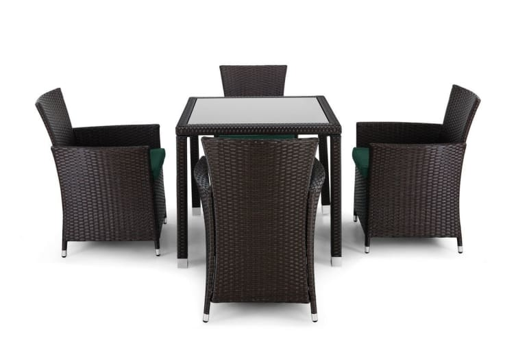 Ovela Tuscany 5 Piece Wicker Dining Table and Chair Set (Dark Brown)